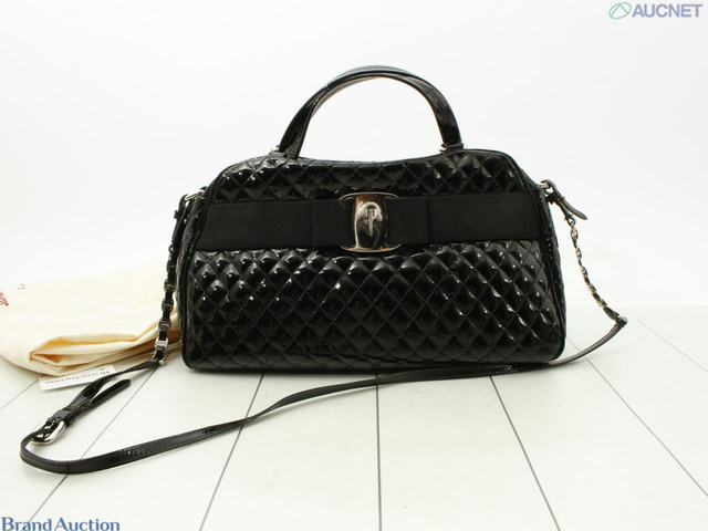 エナメル ボストンバッグ(ストラップ 保存袋)ブラック