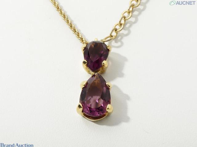 色石ネックレス 紫 GP