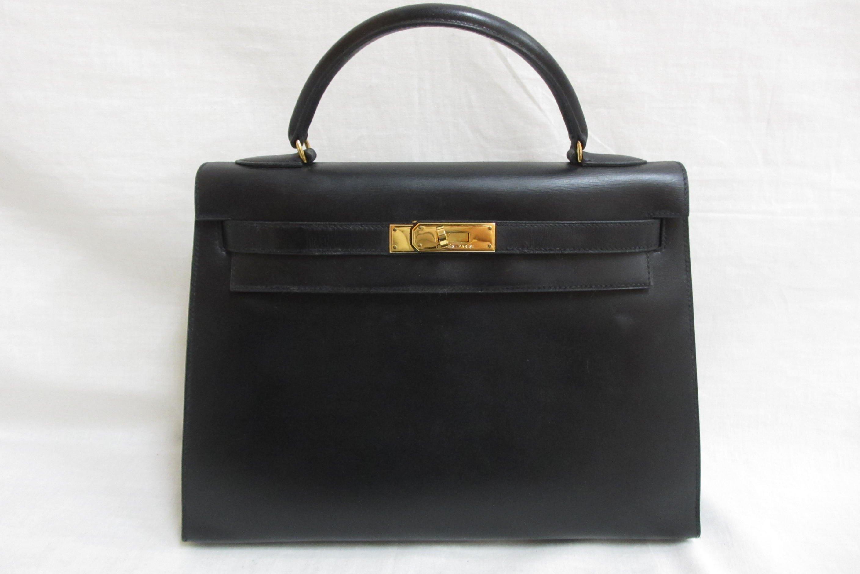 ケリー32 黒 ボックスカーフ 〇T刻印